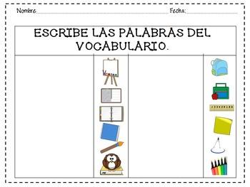 VOCABULARIO PARA LA ESCUELA. TARJETAS PARA ENMICAR Y HOJAS DE EJERCICIOS.