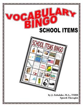 VOCABULARY BINGO: SCHOOL ITEMS- Speech Therapy