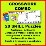 VOCABULARY | 20 Crossword Puzzles | Early Finishers | NO PREP | Gr 3-4-5