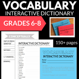 VOCABULARY INTERACTIVE NOTEBOOK DICTIONARY NO PREP 6-8