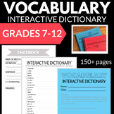 VOCABULARY INTERACTIVE NOTEBOOK DICTIONARY NO PREP 7-9