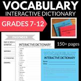 VOCABULARY INTERACTIVE NOTEBOOK DICTIONARY NO PREP 7-9