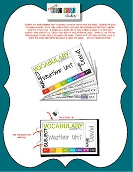 Vocabulary Journal for Reading, Writing, Math, Science, and Social Studies CCS