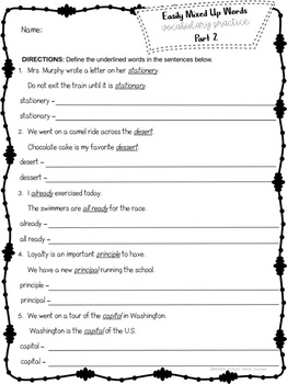 Homophones & Easily Mixed Up Words Worksheets