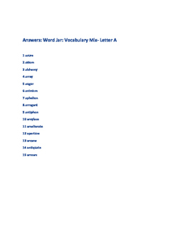 VOCABULARY MIX: THE WORD JAR-  THE LETTER A