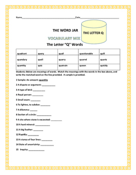 VOCABULARY MIX: THE WORD JAR: THE LETTER Q