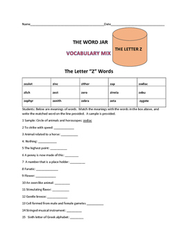 VOCABULARY MIX:  THE WORD JAR: THE LETTER Z