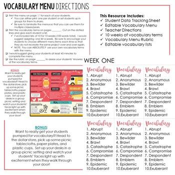 VOCABULARY Menu for Grades 6-12: Volume 2 EDITABLE