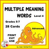 VOCABULARY | HOMOGRAPHS | Task Cards | Multiple Meanings Words Set 4 | Gr. 5-6-7
