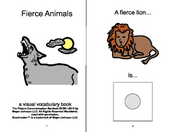 VOCABULARY PACKAGE Fierce & Gentle ADAPTED BOOKS, Speech Therapy, Autism