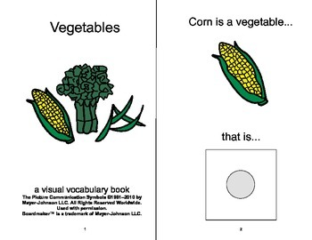 VOCABULARY PACKAGE Fruits & Vegetables ADAPTED BOOKS, Speech Therapy, Autism