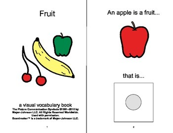 VOCABULARY PACKAGE Fruits & Vegetables ADAPTED BOOKS, Spee