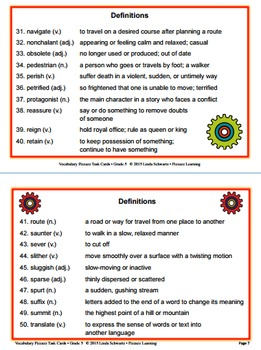 VOCABULARY PIZZAZZ TASK CARDS  • Grade 5