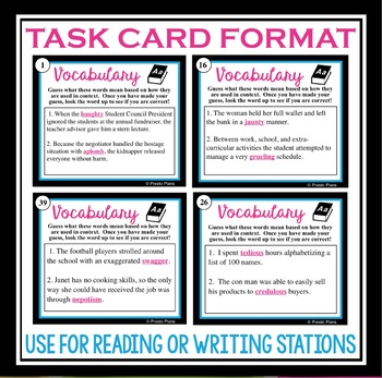 VOCABULARY PRACTICE (TEST PREP):  BELL RINGERS & TASK CARDS