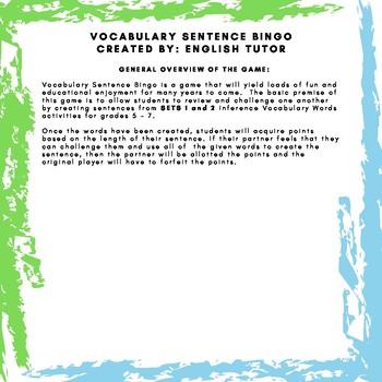 SET 3 - VOCABULARY SENTENCE BINGO GAME