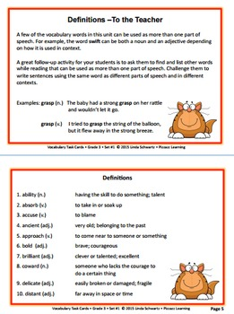 VOCABULARY TASK CARDS  • Grade 3 • Set #1