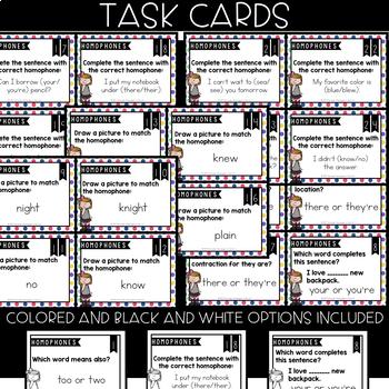 VOCABULARY Task Cards - HOMOPHONES