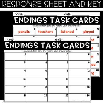 VOCABULARY Task Cards - INFLECTIONAL ENDINGS