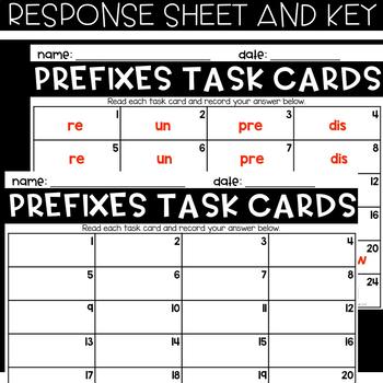 VOCABULARY Task Cards - PREFIXES