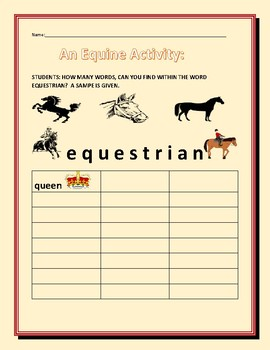 VOCABULARY: WORD FIND: AN EQUINE ACTIVITY: