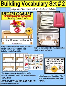 "VOCABULARY and PICTURES Task Cards WORD KNOWLEDGE ""Task Box Filler"" Autism SET 2"