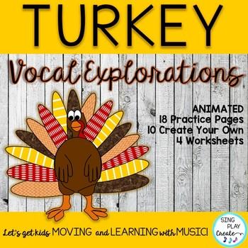 November Turkey Vocal Explorations and Worksheets