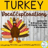 November Music Class Turkey Vocal Explorations and Worksheets