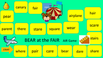 ER AR OR AIR EAR IRE VOCALIC R Game Boards