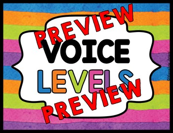 VOICE LEVEL POSTERS BRIGHT CLASSROOM DECOR (WATERCOLOR CHART OR DISPLAY)