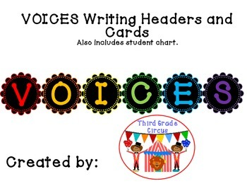 VOICES Writing Menu Headers and Cards