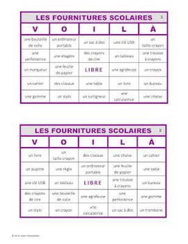 VOILÀ pour LES FOURNITURES SCOLAIRES (French School Supply Bingo)