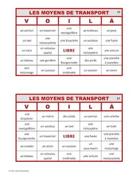 VOILÀ pour LES MOYENS DE TRANSPORT (French Transportation Bingo)