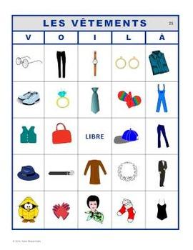 VOILÀ pour LES VÊTEMENTS (French Clothing Bingo)