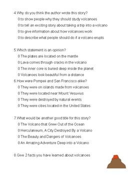 """""""VOLCANOES"""" - story quiz ( 3rd grade)"""
