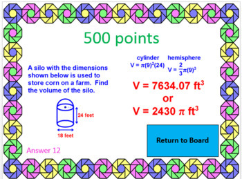 VOLUME AND SURFACE AREA:  POWERPOINT GAME - WIPE OUT! OR REVIEW