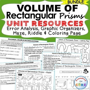 VOLUME OF RECTANGULAR PRISMS BUNDLE Error Analysis, Graphic Organizers, Puzzles
