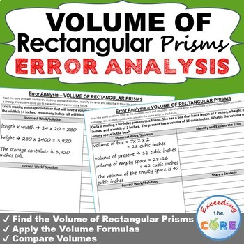 VOLUME OF RECTANGULAR PRISMS  Error Analysis - Find the Error