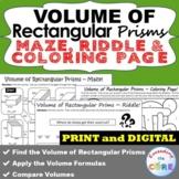 VOLUME OF RECTANGULAR PRISMS Maze, Riddle, Coloring | Goog