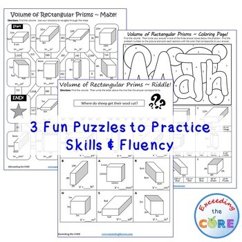 VOLUME OF RECTANGULAR PRISMS  Maze, Riddle & Color by Number (FUN ACTIVITIES)