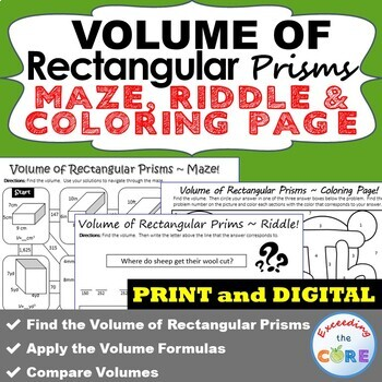 VOLUME OF RECTANGULAR PRISMS Maze, Riddle & Coloring Page by ...
