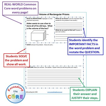 VOLUME OF RECTANGULAR PRISMS Word Problems with Graphic Organizers