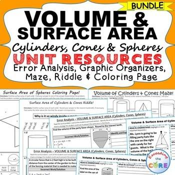 VOLUME & SURFACE AREA CYLINDERS, CONES, SPHERES Bundle