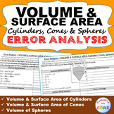 VOLUME & SURFACE AREA CYLINDERS, CONES, SPHERES Error Analysis  (Find the Error)