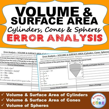 VOLUME & SURFACE AREA CYLINDERS, CONES, SPHERES Error Anal