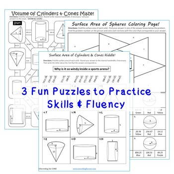 VOLUME & SURFACE AREA CYLINDERS, CONES, SPHERES Mazes, Riddles, Color by Number