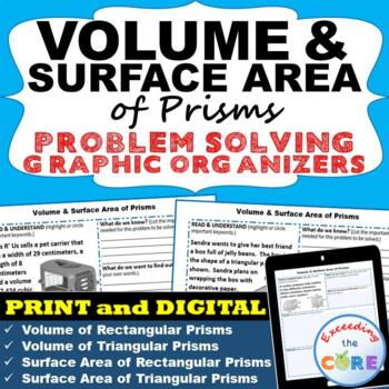 VOLUME and SURFACE AREA of PRISMS Word Problems with Graphic Organizer