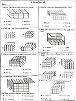 Volume Test I: Finding Volume Practice (20 worksheets)