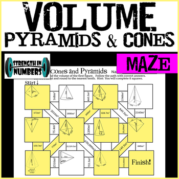 VOLUME of Cones and Pyramids Maze Practice Worksheet