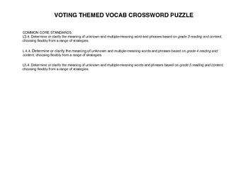 VOTING THEMED CROSSWORD PUZZLE