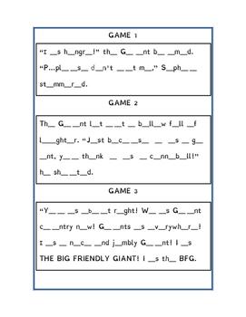 VOWEL GAME FOR BFG